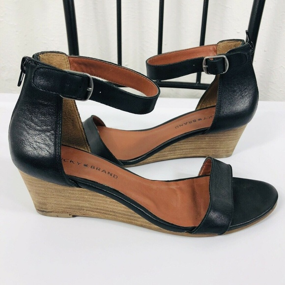 Lucky Brand Shoes - Lucky Brand Black Leather Jorey Wedges Sandals